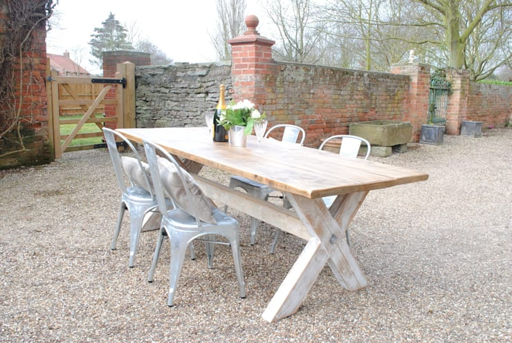 Made from Reclaimed Timber- X frame dining table:  Kitchen by Dove and Grey