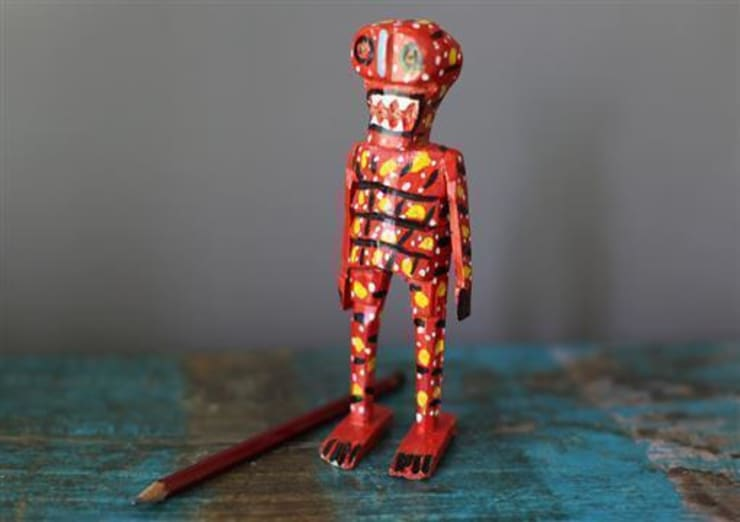 Hand Carved Mexican Wooden Skeletons:  Artwork by Vintage Archive