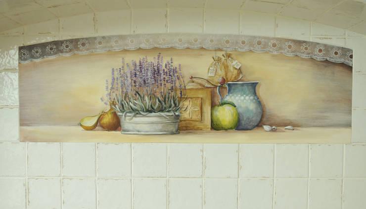 Dekoracja ściany ręcznie malowana: styl , w kategorii Kuchnia zaprojektowany przez 'Rustykalnia'  Sztuka Wnętrza