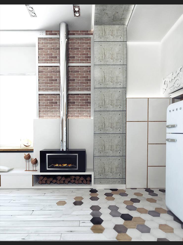 LOFT APARTMENT МОСКВА: Гостиная в . Автор – IK-architects