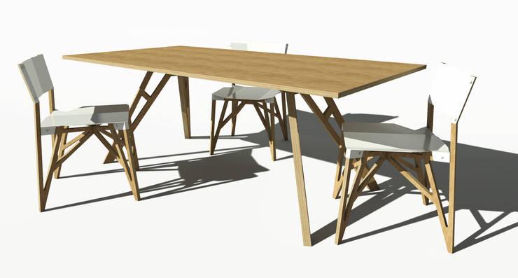 Stół Ram w wersji ze sklejki bukowej: styl , w kategorii Jadalnia zaprojektowany przez ROARHIDE Industrial designs