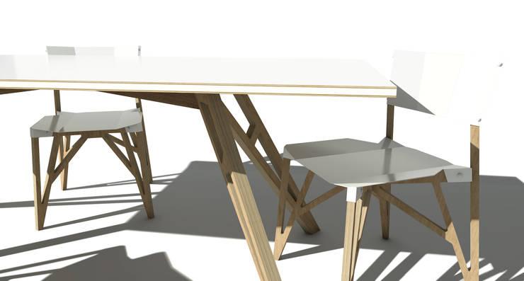 Stół Ram w wersji ze sklejki bukowej wykończony blachą: styl , w kategorii Jadalnia zaprojektowany przez ROARHIDE Industrial designs