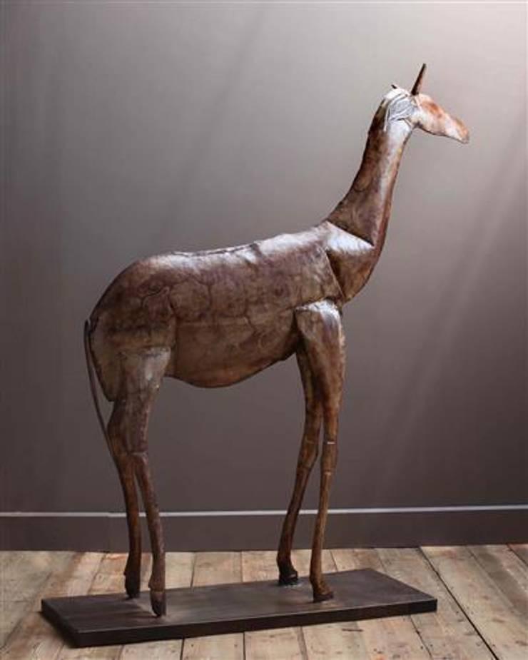 Metal Giraffe Sculpture:  Artwork by Vintage Archive