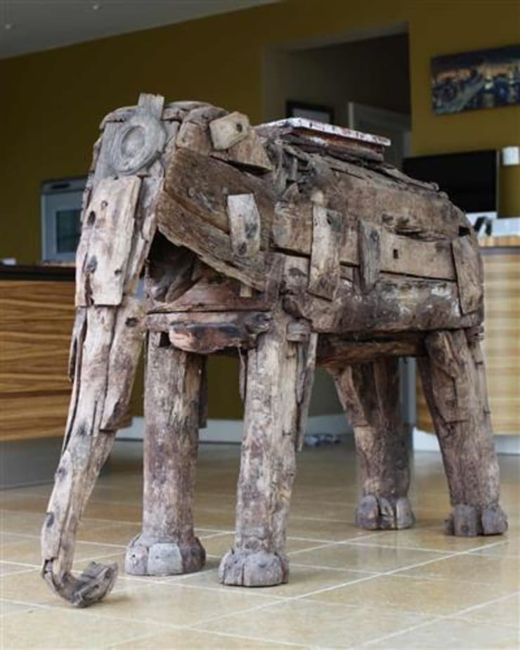 Antique Wooden Elephant:  Artwork by Vintage Archive