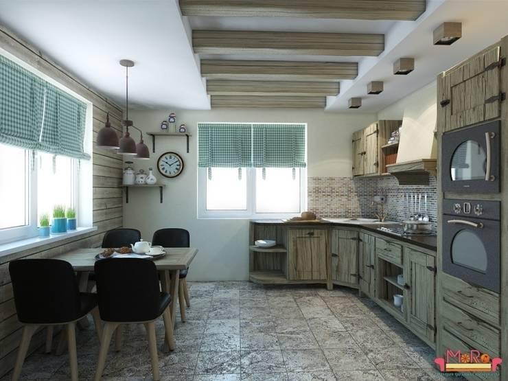 Дизайн проект гостиной в загародном доме: Кухни в . Автор – MoRo