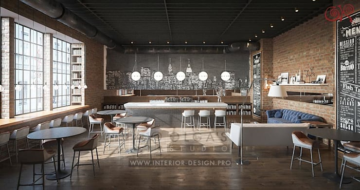 Вариант дизайна интерьера кафе в стиле лофт: Гостиная в . Автор – Olga's Studio