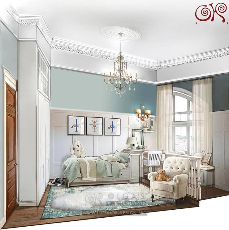 Интерьер детской комнаты с подиумом и подоконником-скамьей: Детские комнаты в . Автор – Olga's Studio