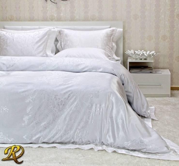 White Tiara Cotton Sateen Jacquard & Lace:  Bedroom by Roxyma Dream UK