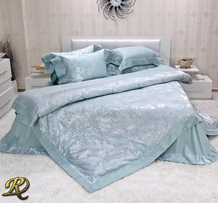 Aqua Ksenia Cotton Sateen Jacquard & Lace:  Bedroom by Roxyma Dream UK