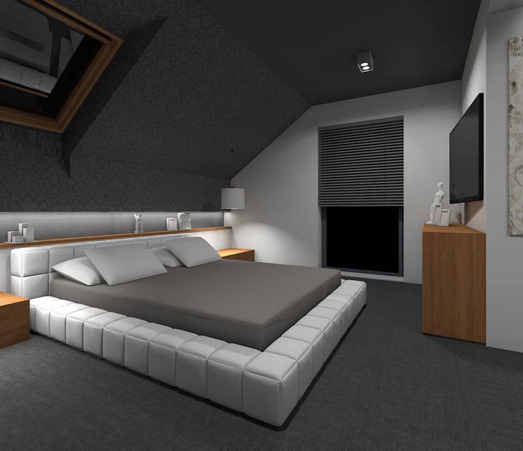 Wnętrze domu w Szałszy: styl , w kategorii Sypialnia zaprojektowany przez STRUKTURA Łukasz Lewandowski