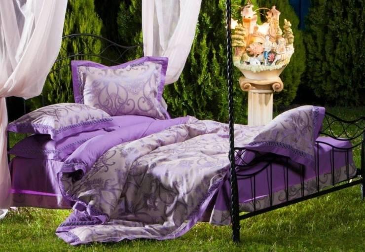 Purple Tiara Cotton Sateen Jacquard & Lace:  Bedroom by Roxyma Dream UK