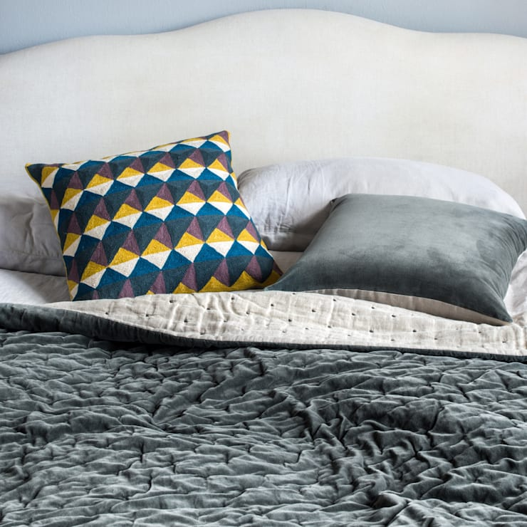 Escher Cushion (Fig/Chartreuse):  Bedroom by Niki Jones