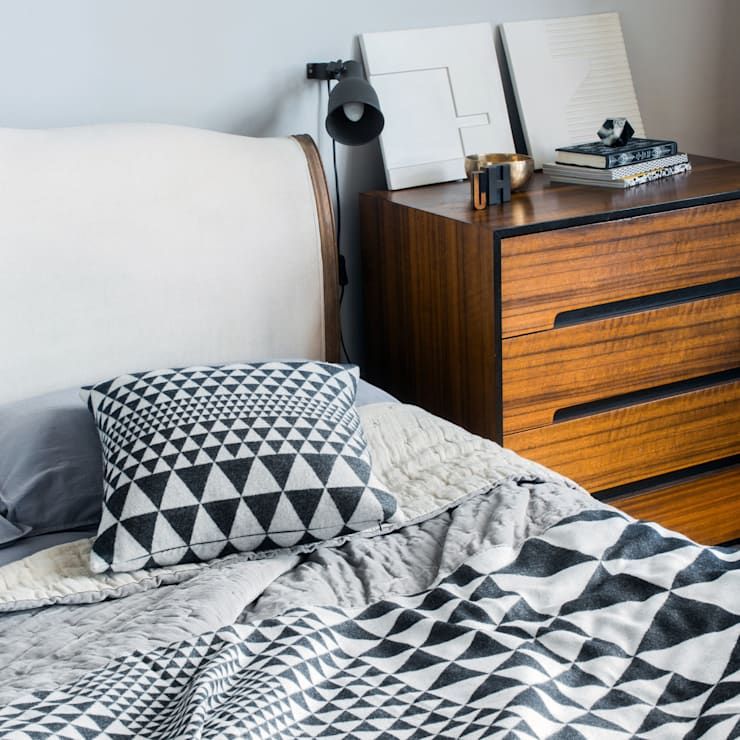 Isosceles Cushion (Black/Ecru):  Bedroom by Niki Jones