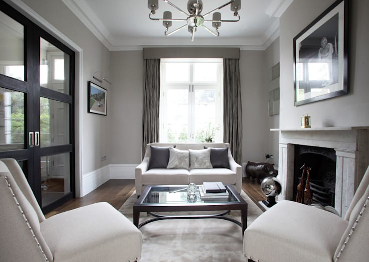 Fulham House by Peek Architecture.:  Living room by Alex Maguire Photography