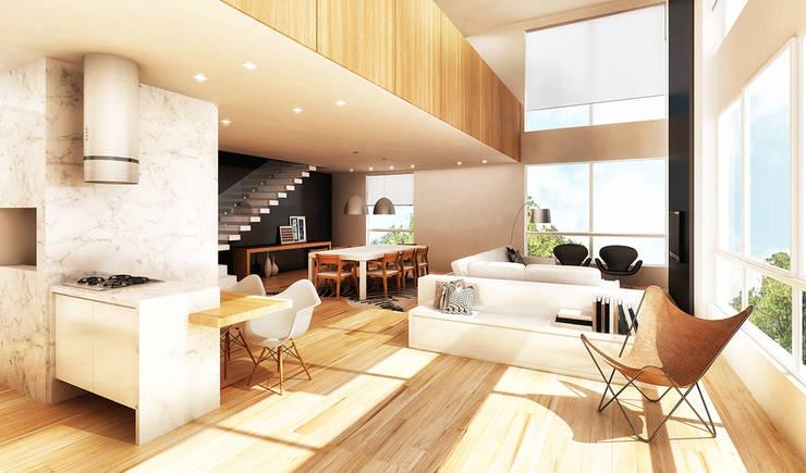 Santos Dumont 60 – interiores: Salas de estar  por Boa Arquitetura