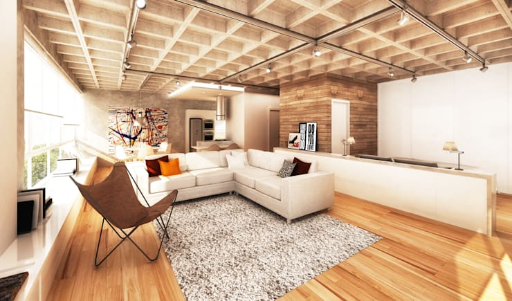 Santos Dumont 60 - interiores: Salas de estar  por Boa Arquitetura