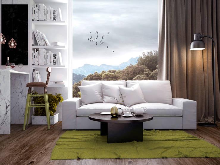Living room: Гостиная в . Автор – PRO-DESIGN, Скандинавский