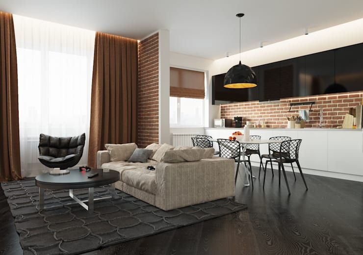 Гостинная: Гостиная в . Автор – 3d artist, 3d visualizer