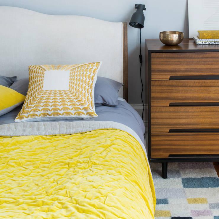 Krakow Cushion (Chartreuse/Ecru):  Bedroom by Niki Jones