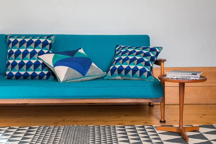 LeWitt and Escher Cushions (Emerald/Navy):  Corridor, hallway & stairs by Niki Jones
