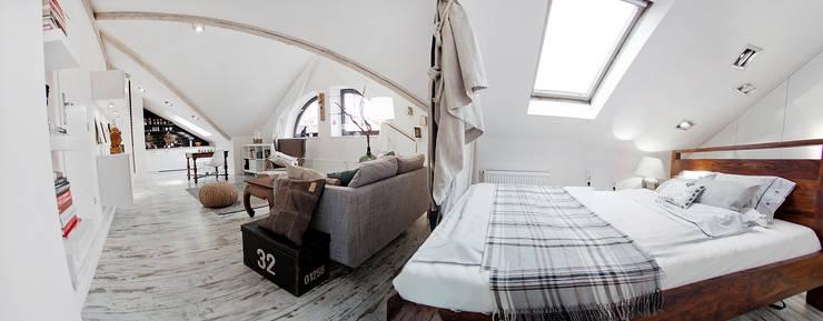 Skandynawska Kawalerka: styl , w kategorii Sypialnia zaprojektowany przez Goryjewska.Górnisiewicz ,Skandynawski