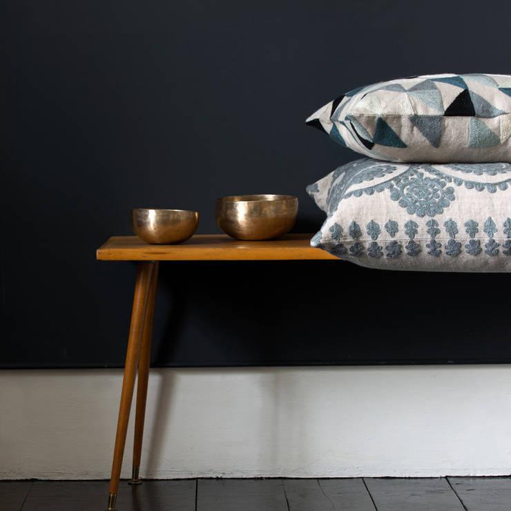 Harlequin Linen Cushion (Grey) and Medina Cushion (Pewter):  Corridor, hallway & stairs by Niki Jones