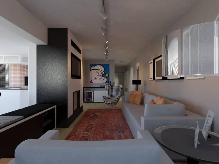 Perspectiva sala de estar: Salas de estar  por Projeto Bem Bolado
