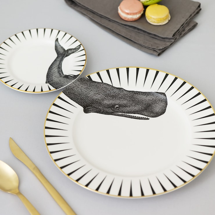 Whale of a Time Plate Set:  Dining room by Yvonne Ellen
