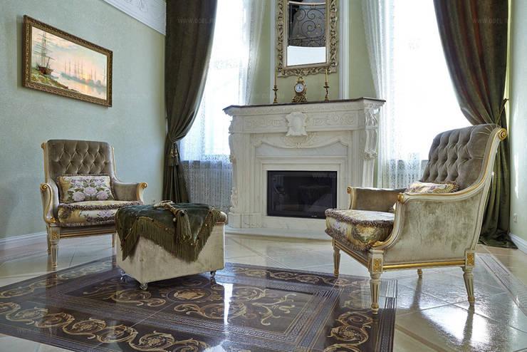 Каминный зал: Гостиная в . Автор – ODEL, Классический Мрамор