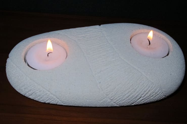 2 Tea Light holder made from Volcanic rock and cleverly carved by the artisan. Perfect for any room in the home.:  Living room by trade.routz