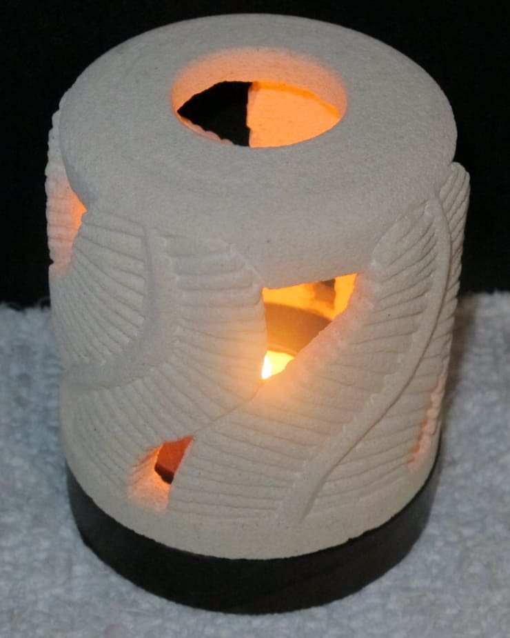 Single Tea Light Holder incased in carved Volcanic rock:  Household by trade.routz