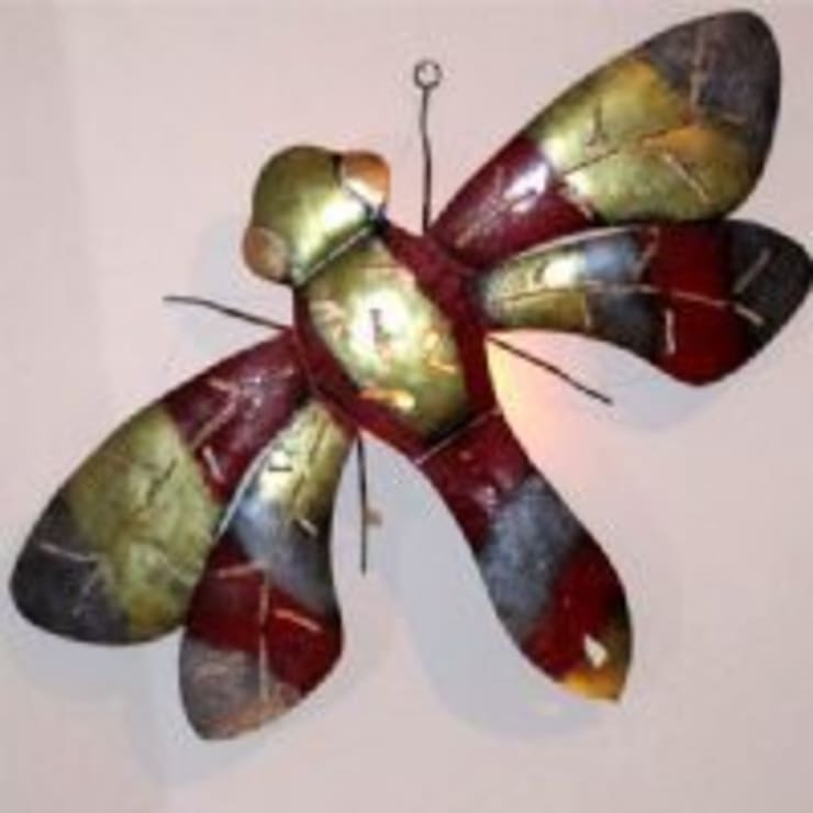 Carved Artwork Dragon fly from upcycled metal:  Household by trade.routz