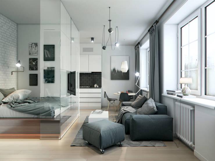 apartment of 32sq.m.: Гостиная в . Автор – Entalcev Konstantin