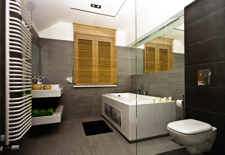 Szarości: styl , w kategorii Łazienka zaprojektowany przez Bednarski - Usługi Ogólnobudowlane