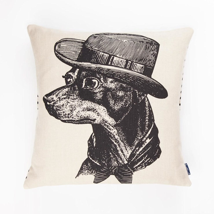 Sophisticated Dog - 45cm hand screen printed cushion:  Living room by Chase and Wonder