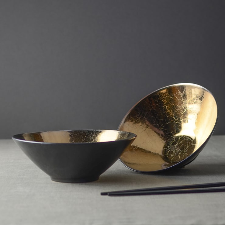 Metallic Bronze Ceramic Soup Bowls:  Dining room by Nom Living