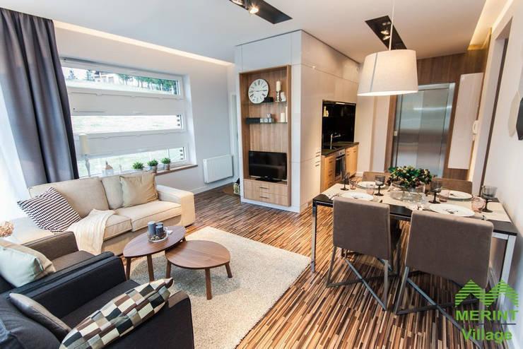 Apartament pokazowy Merint Village w Wiśle: styl , w kategorii Salon zaprojektowany przez Goryjewska.Górnisiewicz