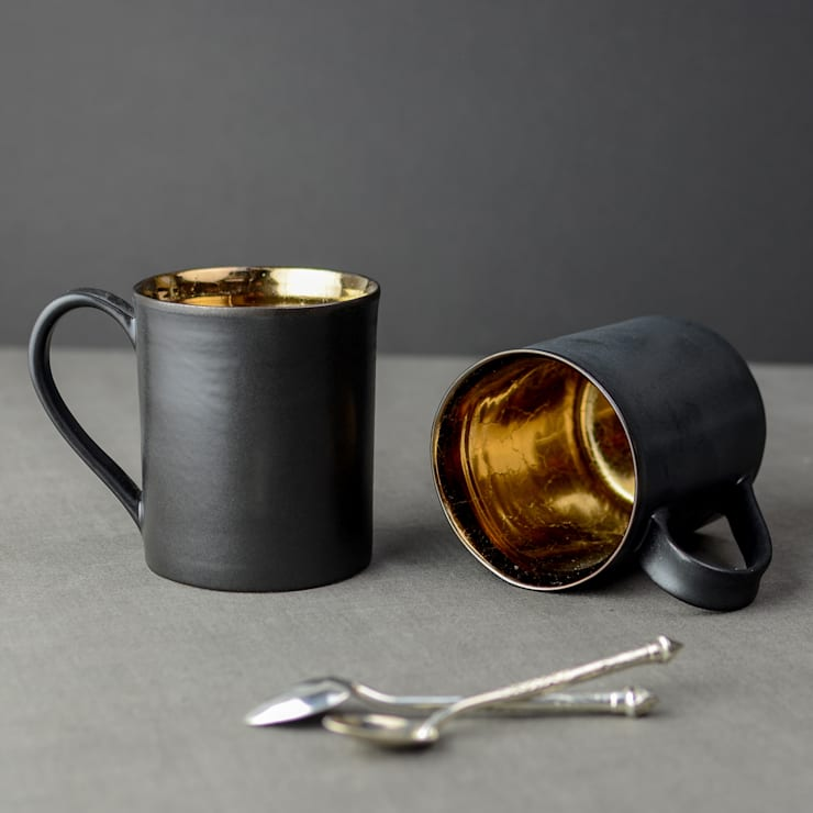 Metallic Bronze Ceramic Tea Mugs:  Kitchen by Nom Living