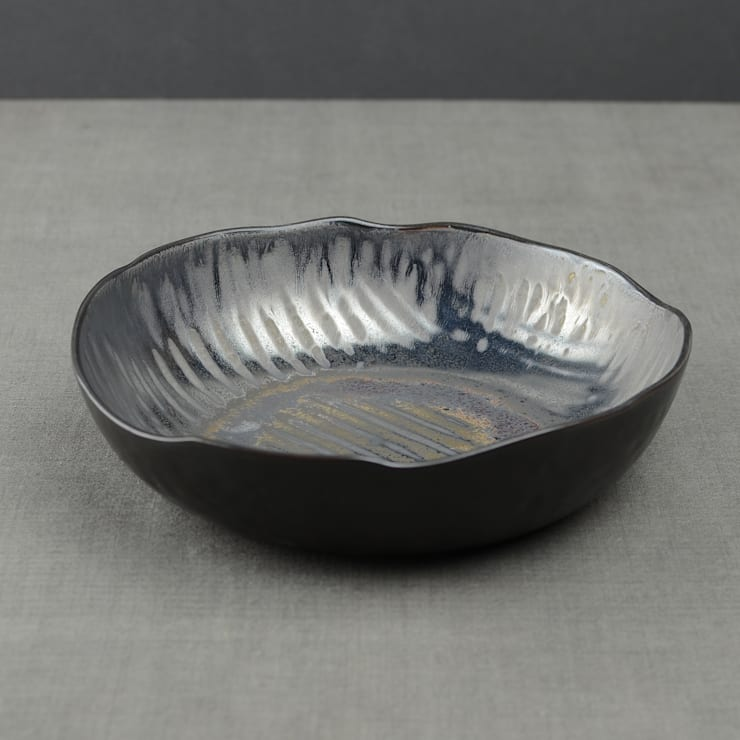 Metallic Glaze Rustic Serving Bowl:  Dining room by Nom Living