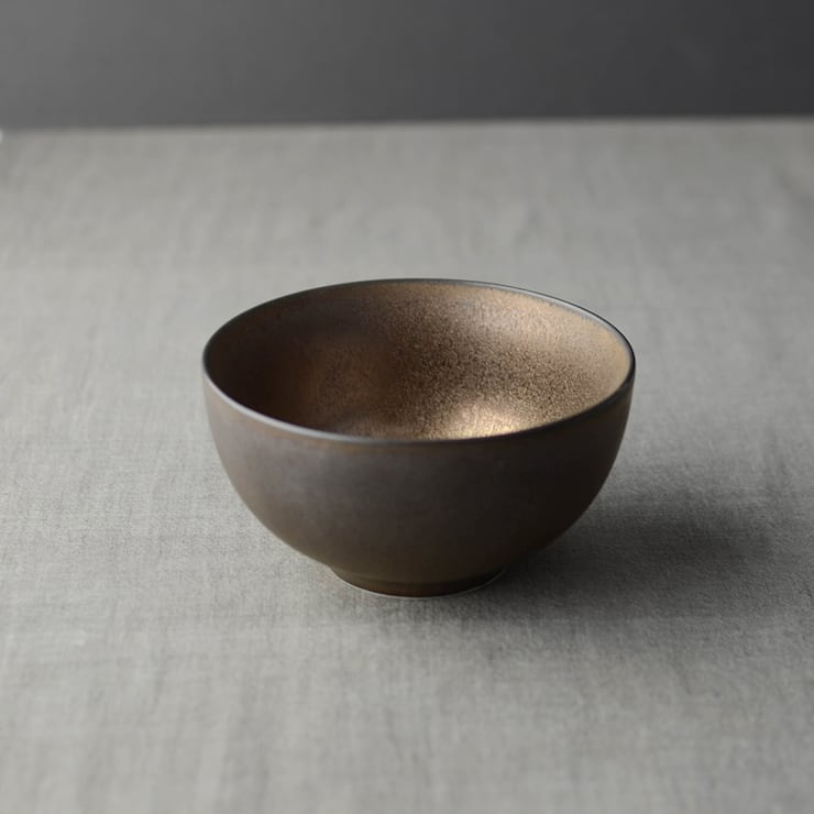 Matt Finish Metallic Bronze Glaze Rice Bowl:  Dining room by Nom Living