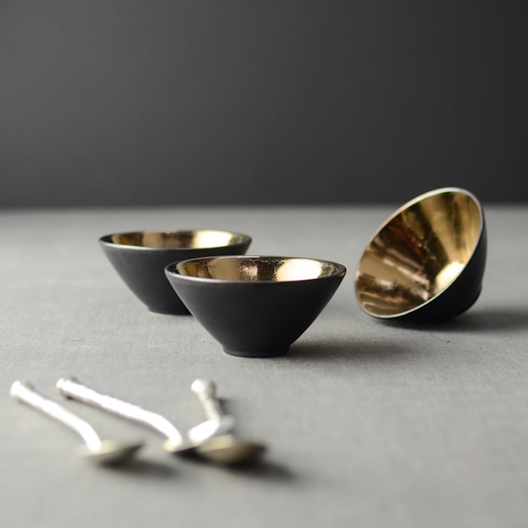Metallic Bronze Ceramic Dip Bowls:  Kitchen by Nom Living