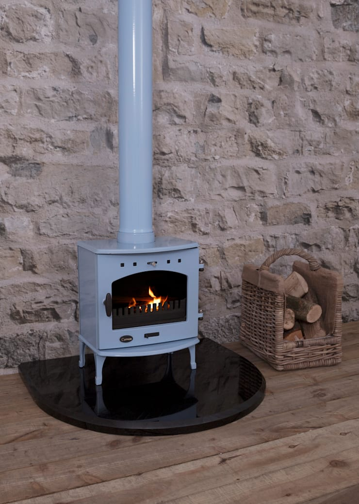 China Blue Enamel Carron Log Stove from UKAA:  Study/office by UK Architectural Antiques
