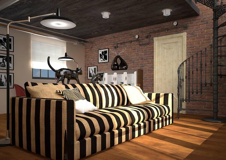 Гостиная в стиле лофт: Гостиная в . Автор – Инна Меньшикова