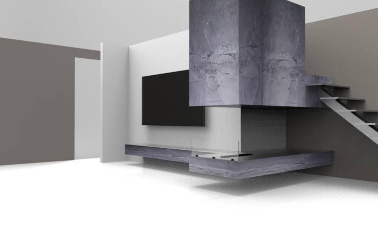render de propuesta: Pasillos y recibidores de estilo  por Armatoste studio