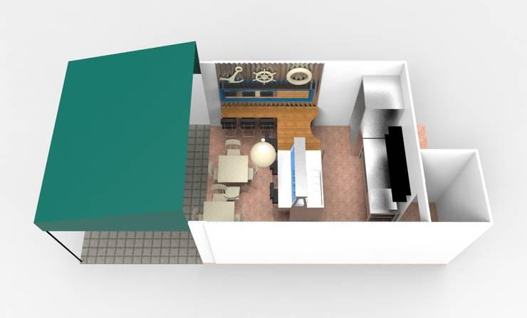 render de propuesta: Restaurantes de estilo  por Armatoste studio