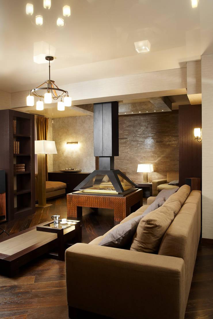Вид на камин: Гостиная в . Автор – Baydyuk Design Company