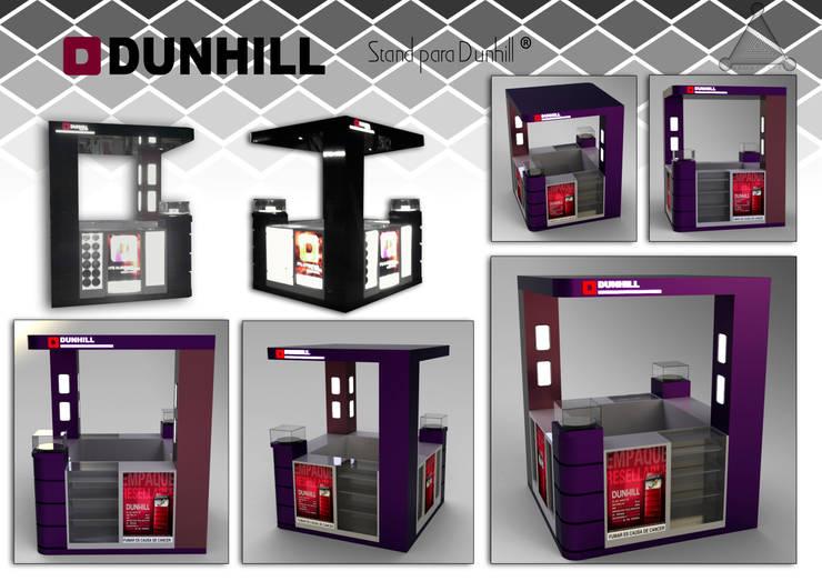"""stand para cigarrillos """"Dunhill"""" : Oficinas y tiendas de estilo  por Armatoste studio"""