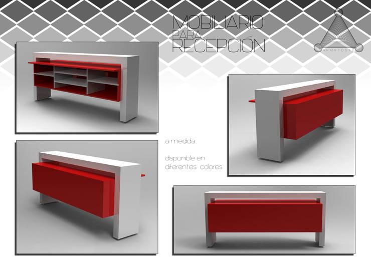 escritorio recibidor: Oficinas y tiendas de estilo  por Armatoste studio
