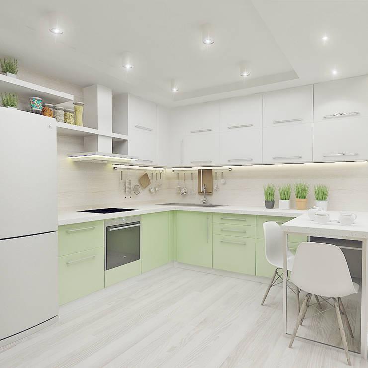"<q class=""-first"">ОТТЕНКИ БЕЛОГО</q> дизайн интерьера трехкомнатной квартиры: Кухни в . Автор – Студия дизайна интерьеров 'Взгляд', Модерн"
