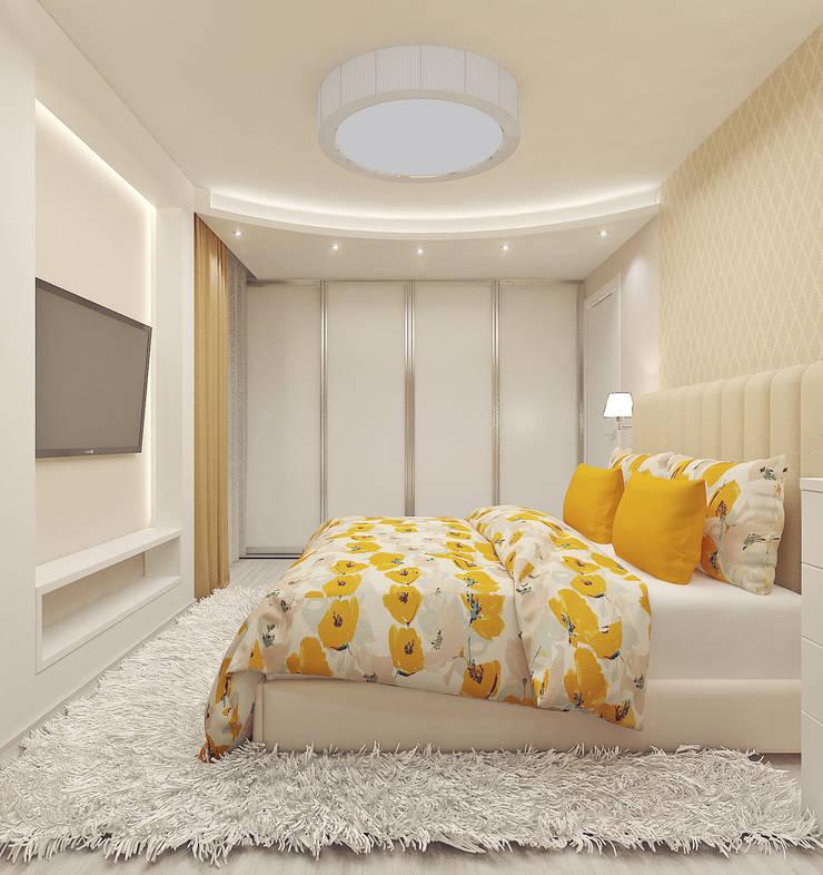 """<q class=""""-first"""">ОТТЕНКИ БЕЛОГО</q> дизайн интерьера трехкомнатной квартиры: Спальни в . Автор – Студия дизайна интерьеров 'Взгляд', Модерн"""